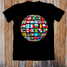 Globe Clothes Australia - World Flags On To a Globe Unisex T Shirt Style Round Style Tshirt Denim Clothes Camiseta T Shir
