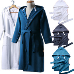 e2e76afc00 Autumn Winter Thick Waffle quilted cotton bathrobe sleepwear robes unisex  nightgown embroidery hooded bathrobe pijamas Coverall