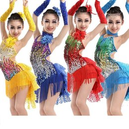 sequin fringe dance Australia - sequin fringe skirt dress latin costumes competition girls salsa children dresses girls skirts for kids latin dance samba 2016