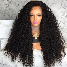 human lace fronts for cheap NZ - Cheap unprocessed raw virgin remy human hair long natural color kinky curly full front lace cap wig for women