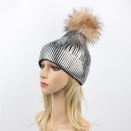 b38d725a887 Winter Women Beanies Hats Knitted Hat for Women With Real Raccoon Fur Pompom  Ball Caps Ladies Hats Pom Beanie Cap European Warm Beanie