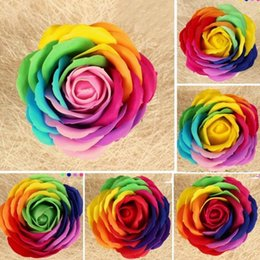 $enCountryForm.capitalKeyWord Australia - 8CM Rainbow 7 colorful Rose Soaps Flower Packed Wedding Supplies Gifts Event Party Goods Favor Toilet soap Scented bathroom accessories