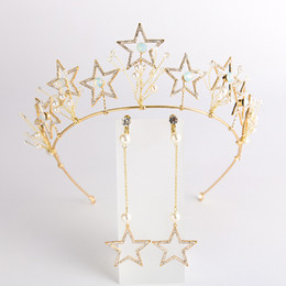 $enCountryForm.capitalKeyWord Australia - Cheap Jewelry Gold Star Crown With Earrings Bridal Tiaras Wedding Hair Accessories Rhinestone Headband Tiara Girl's Party Hair Jewelry