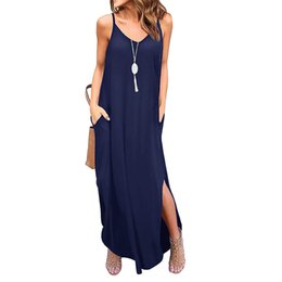 Wholesale cami sundress for sale – plus size Women Long Dress Female Summer V Neck Spaghetti Strap Pockets Loose Beach Cami Maxi Dress Casual Sundress Robe Femme