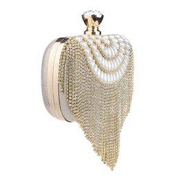 Ladies Evening Handbags Australia - TEXU Women Tassel Clutch Beading Diamonds Small Purse Chain Shoulder Handbags Wedding Party Lady Evening Bag
