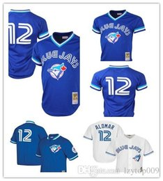 6845eb9be Custom 2019 Men s Blue Jays 12 Roberto Alomar Toronto White Home Cool Base  Cooperstown Collection Player women kids Jersey
