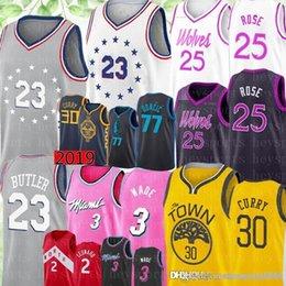 29bde484c Philadelphia Jimmy 23 Butler 76ers Jersey Derrick 25 Rose Timberwolves  Nikola 15 Jokic Luka 77 Doncic 30 Curry Dwyane 3 Wade Jerseys