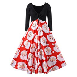 c9e74dd8ef32 Kenancy Christmas Plus Size 4xl 5xl Santa Claus Print Midi Dress Women  Vintage Dress Sexy V Neck Long Sleeves Party Dress 2017 J190507