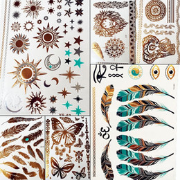 $enCountryForm.capitalKeyWord NZ - Gold Sun Silver Moon Temporary Tattoo Stickers Women Kids Body Art Star Feather Golden Metallic Water Transfer Flash Tatoo Child
