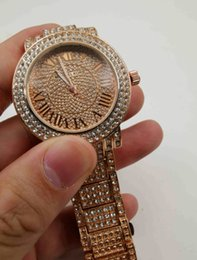 Rhinestone watch date online shopping - New Luxury Women Watch Diamonds Quartz Lady Stainless Steel Brand Watches Rhinestone Rose Gold mk Wristwatches Clock Gifts Relogio Feminino
