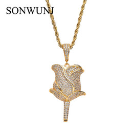 China Bling bling Hip Hop Rose flower Pendant Copper Micro pave with CZ stones Necklace Jewelry CN048 cheap flower rope necklace suppliers
