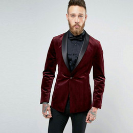 slim fit suits for prom Canada - Burgundy Velvet Men Suits for Business Wedding Man Suits Black Shawl Lapel Groom Tuxedo 2Piece(Coat+Pants) Slim Fit Costume Homme Prom Party