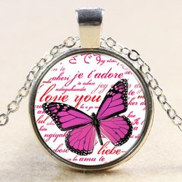 Wholesale Nature s Magical Animals Pink Butterfly Glass Pendant Necklace Creative Pink Butterfly Silver Necklace Love You My Pink Butterfly