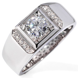 $enCountryForm.capitalKeyWord NZ - Transgems 1 Carat Moissanite Wedding Engagement Ring For Men Solid 14k White Gold Moissanite Accent And Chinese Ancient Coin Y19061203