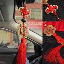 Discount feng shui lucky coin - Fashion Feng Shui Geomantic Omen Mystic Knot 8 Chinese Lucky Coins Charm Car Door Knot New Fashion Car Accessories Decor