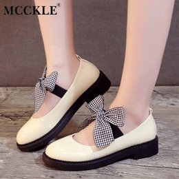 $enCountryForm.capitalKeyWord Canada - Designer Dress Shoes MCCKLE Women Autumn Casual Platform Thick Heel Mary Janes Pumps Female Ankle Wrap Bowtie Low Heels Ladies Fashiuon