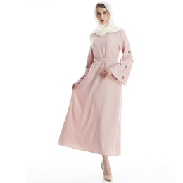 Wholesale turkish muslim clothing resale online - Fashion Muslim Maxi Long Robe Ramadan Middle East Arabic Turkish Dress Abaya Belt Gowns Hijab Thobe Islamic Prayer Clothing