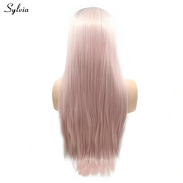 Color Hair Pastels Australia - Long Hair Soft Synthetic Lace Frontal Wigs Pastel Pink Color Natural Hairline Party Short Root For Women High Temperature