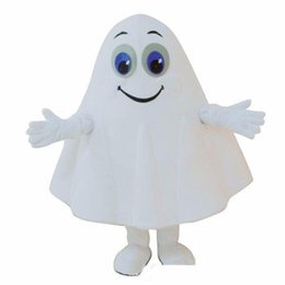 China newHalloween White Ghost Mascot Costume Cartoon specter Anime theme character Christmas Carnival Party Fancy Costumes Adult Outfit suppliers