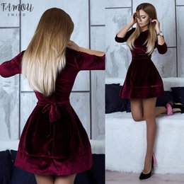 mini robe vintage Canada - Women Velvet Dress 2020 Autumn Winter Dress Long Sleeve Casual Solid Party Dresses Sexy Mini Dress Mujer Femininos robe femme