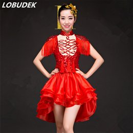 Flash Female Costume Australia   Red Female Modern Dancing Costume Flashing  Crystals Tassels Dress Prom Party