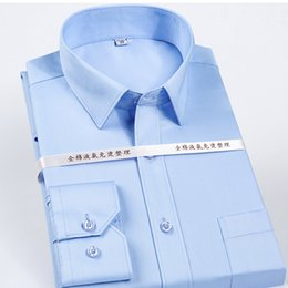 high collar dress shirts Australia - High Grade 100% Mercerized Cotton Square collar solid s~5xl Men's dress shirts long sleeve slim fit anti wrinkle easy care MX200518
