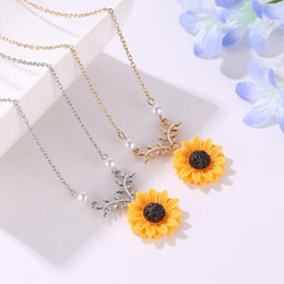 $enCountryForm.capitalKeyWord Australia - European and American Simple Jewelry Item Pearl Sun flower Necklace Feminine Fashion Sunflower Pendant Sunflower Jewelry