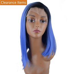 Blue Synthetic Lace Front Wigs Australia - Synthetic Lace Front Blue Wigs Medium Length Straight Hair Heat Resistant Fiber Women's Full Wig