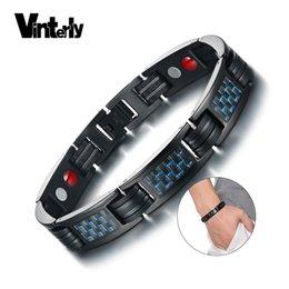 Black Bracelet mans silicone online shopping - Vinterly Black Health Bracelet Men Stainless Steel Blue Carbon Fiber Steel Magnetic Bracelet Male Energy Chain Bracelet for Men