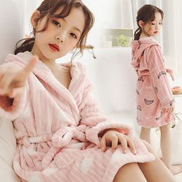 Kids Winter White Dress Australia - Children Girls Bathrobes Autumn Winter 2018 Thicken Warm Pajamas Kids Hooded Dressing Grown Cartoon Flannel Sleepwear For Teen J190520