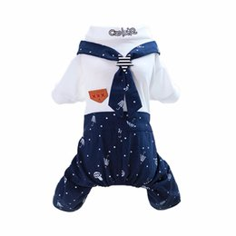 female dresses NZ - New Pet Dog Clothes Cute Navy Style Pet Cat Puppy Dog Couple Costume Summer Dog Pet Overalls Dress for Small Dogs Cats