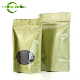Sugar Bag Wholesale Australia - Leotrusting 50pcs lot Thick Stand up Glossy Gold Foil Window Ziplock Bag Doypack Gold Window Foil Candy Sugar Nuts Gift Zip Packaging Bag