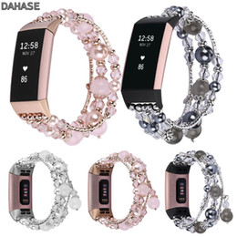 $enCountryForm.capitalKeyWord Australia - Jewelry Agate Crystal Beads Watch Strap Bracelet for Fitbit Charge 3 Band Women Wristband Strap for Fitbit Charge 3