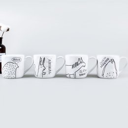 Tumbler Handle NZ - White Ceramic Water Tumblers Hidden World Farm Animal Coffee Cups Handmade Mug with Handle High Quality And Iexpensive Originality 8mlA1