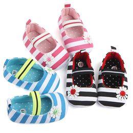 Flower Shoes Kids NZ - Summer Boys Girls Shoes Infant Kids Girls Baby Stripe Flower Shoes Soft Sole Anti-Slip Shoes First Walker NDA84L25