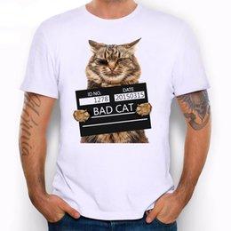 Ingrosso Maglietta da uomo Bad Cat Police Dept Print Maglietta Cool Cat maglietta da uomo estiva T-shirt bianca hipster T-shirt