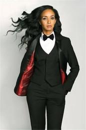 Black Work Vests NZ - Custom Made Black 3 Piece Slim Women's Pants Suit Vest Business Office Set Ladies Work Wear Outfit Blazer