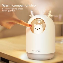 led oil Canada - KBAYBO 300ml cartoon mini USB ultrasonic humidifier aroma diffuser essential oil diffuser with 7 color LED night light Y200416