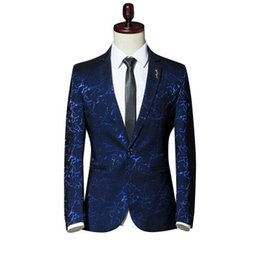 casual male fashion blue suit blazers Australia - Mens Fashion Design 3D Blazers Autumn Winter Wear Printing Casual One Button Back Slit Male Casual Comfortable Slim Fit Suit
