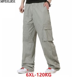 half off af79c f9293 Frühlingssommer Männer plus Größe große Hosen 6XL fette Leute  Safariarttasche Stretchhose heraus Tür beiläufige Ladung Baumwollhosen 5XL