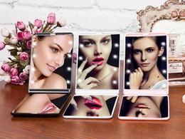 $enCountryForm.capitalKeyWord Australia - Wholesale Fashion Women Ladies Make Up Mirror Cosmetic Folding Portable Compact Pocket with 8 LED Lights Makeup Tool Nice Gift