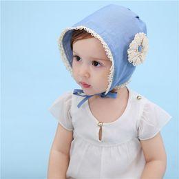 Blue Hats For Girls Australia - Denim Blue Baby Bonnet Enfant Cotton Lace-up Girl Cap with Flower Baby Hat for 3-24 Months