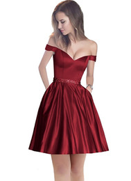 Wholesale short dresses for sale - Group buy Burgundy Cocktail Dresses Champagne stain Dubai Cheap Party Arabic Women Off The Shoulder Straight Short Prom Dress Middle East Party Gowns