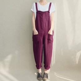 $enCountryForm.capitalKeyWord NZ - 2019 Zanzea Women Strappy Bib Overalls Pockets Summer Cotton Linen Long Jumpsuits Casual Solid Dungarees Loose Rompers Plus Size Y19071701