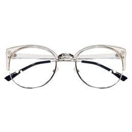 flat mirrors NZ - Fashion Men Women Transparent Eyeglasses Half Frame Cat Eye Glasses Retro Anti-fatigue Computer Optical Lens Flat Mirror