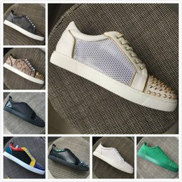 Gold Spiked Red Bottom Australia - New Men Women Red Bottom Shoes White Leather Mesh Patchwork Gold Spikes Toe Low Top Sneakers,Designer Brand Spikes Toe Casual Shoes 35-47