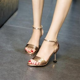 $enCountryForm.capitalKeyWord NZ - 2019 Buckle With Open-toed Sandals Female Summer With Korean Wild Fashion Shoes Rough With Roman Ladies High Heels