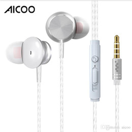 iphone earphones metal Australia - Aicoo Metal Wired In-Ear Earphones Headphone with Mic Remote Stereo 3.5MM HIFI Headset for iPhone Samsung Smartphone with retail package