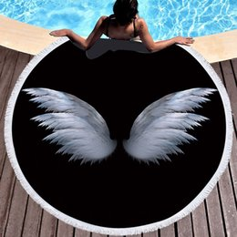 circle beach towels 2019 - Summer Microfiber Round Beach Towel Circle Fairy Cupid Wings Print Shower Bath Towels Yoga Mat Blanket toalla de playa r