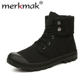 $enCountryForm.capitalKeyWord Australia - Merkmak Autumn Winter Men Canvas Boots Army Combat Style Fashion High-top Military Ankle Boots Men's Shoes Comfortable SneakersMX190820